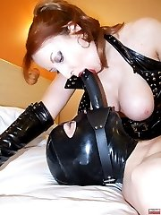 Redhead latexslut gets mouthfuck