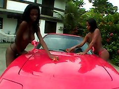 Steamy black Brazilian cutie ass banged on her car