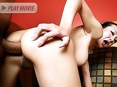 Asian MILF Angie Venus spreading her butt cheeks wide on the couch for intense anal sex