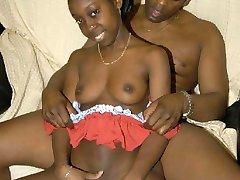 ebony guy fucks black girl from behind in sofa