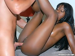 Hot ass ebony babe with a killer booty gets banged