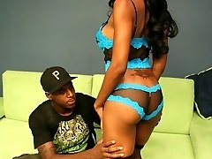 Sexy lingerie wearing ebony hottie puuts her teen mouth on a black cock