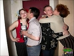 Mature couple teaches young swingers