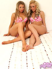Kates blonde horny girlfriends Lisa and Brooke get each other topless as they tease in their...