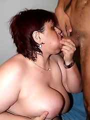 Horny fatty Marta guzzling down a cock before she lets it unload all over her chubby mug