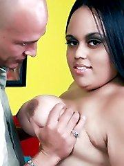 Dirty BBW Christy Minx gives her stud a taste of her oral expertise and later bounces up and down his cock