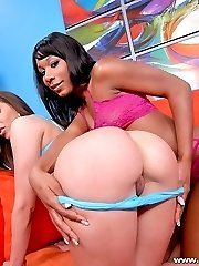 Voluptuous babes spanking their round asses