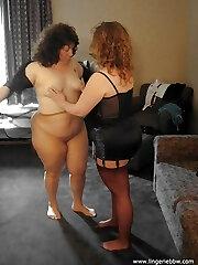 Pantyhose and nylons BBW lezzies