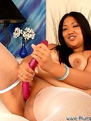China is a sloppy Asian slut with a big round booty, a cute tummy and tasty set of hanging baby feeding udders that will make your cock stiff!