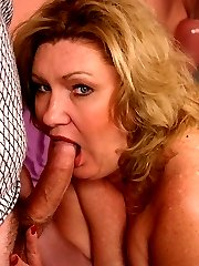 Horny matured bbw CC sucking off a cock and takes it deep into her slit by humping it on top