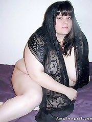 Busty fat brunette in black lace