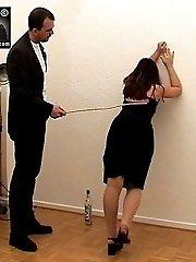 Drunken slut caned rock-hard on her buxom bottom