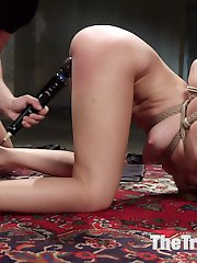 Hot little anal submissive spinner Trisha Parks submits her shaved pussy, mouth and ass to slave...
