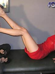 Foot slave licking her feet
