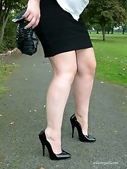 Fleshy Nicola loves to show off her high heels outdoors