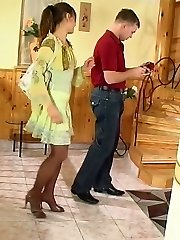 Horny guy tickling babes nylon feet with his tongue before frantic banging
