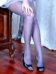 Upskirt teaser in open toe stilettos and tights flashes her feet and pussy