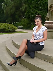 Sexy Karen raises a few shoe fetish desires as she poses outdoors in a lovely pair of silky...