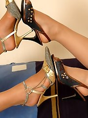 Pantyhosed honies fitting on various high heel footwear before red-hot nylon games