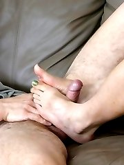 Check out this Asian chick who got her beautiful feet nibbled after a giving a foot job