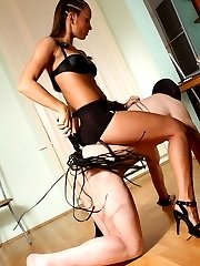 Strict long-haired mistress riding submissive masked slave like a horse