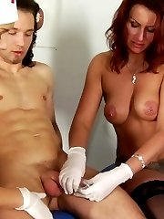 Unforgettable double handjob at the femdom examination