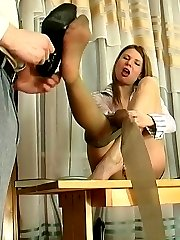 Mischievous coed in soft silky tights craving for more than boring lesson