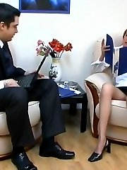 Steamy co-workers spicing up their hard working day with pantyhose fucking