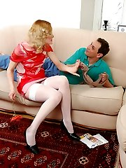 Guy smelling sheer nylon pantyhose before admiring cutie in white stockings
