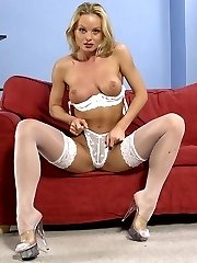 Blonde cutie in wearing stockings showing off nice and sexy ass