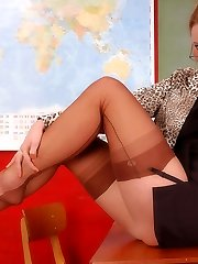 Peggy as naughty teacher in brown genuine stockings