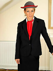 Gorgeous Sabrina in air hostess uniform