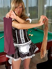Naughty French maid in glossy pantyhose getting horny in the billiard room