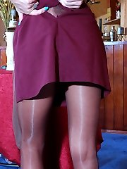 Mischievous blonde chick wears several pairs of soft silky pantyhose at once