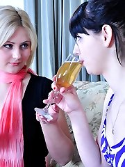 Sultry sapphos in fashion pantyhose have a romantic evening with pussy play