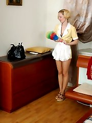Pony-tailed French maid in smooth pantyhose getting punished for pilfering