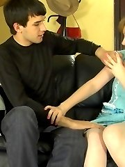 Frisky gal in barely visible pantyhose luring a guy into fucking adventures