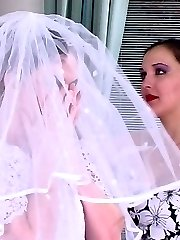 Filthy bride going down for perfect pussy-munching through luxury pantyhose