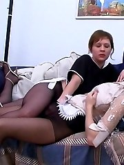 Naughty French maid in sheer-to-waist tights spicing up their daily chores