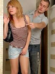 Horny gal in sheer pantyhose taking challenge of meaty pole in the bathroom