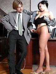 Smashing brunette in exquisite pantyhose seducing businessman into banging