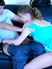 Heated gal encased in sheer hose seduces a shy guy into crazy pantyhose sex