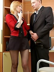 Spicy secretary in barely black hose dildotoying before having frenetic sex