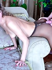 Secretary in glasses getting her sheer-to-waist hose jizzed after a quickie