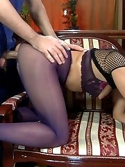 Pretty babe in crotchless purple tights worshipped and fucked by a handyman