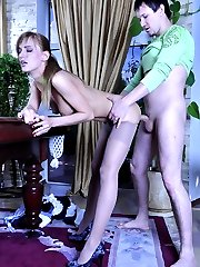 Sassy French maid gets her fine control top pantyhose jizzed by her master