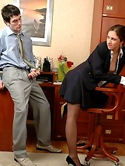 Secretary in black nylons teasing hot guy flashing her slit in various ways