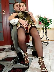 Irresistibly sexy chick in sheer stockings can seduce every male in trice
