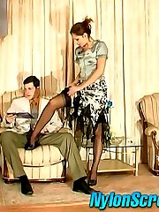 Red hot babe in lovely stockings having nylon amusement with fucking finale