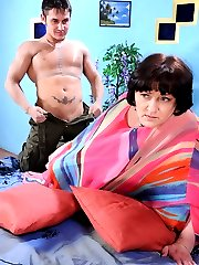 Fiery mature gal in smooth hose getting a horny guy join in for hot quickie